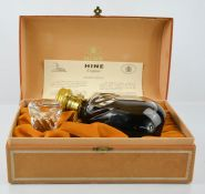 Hine Cognac in a handblown glass decanter, together with certificate, bottle tag and presentation