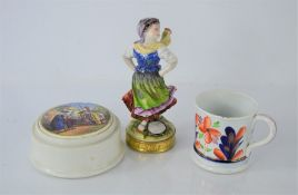 A Prattware pot and lid together with a Sitzendorf figurine and an imari-style cup