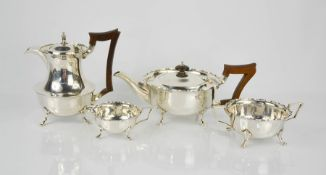 A silver four piece tea service, Sheffield 1918, 47toz.