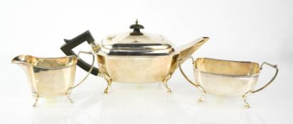 A George V three piece silver tea set, Birmingham 1933, 1150g.