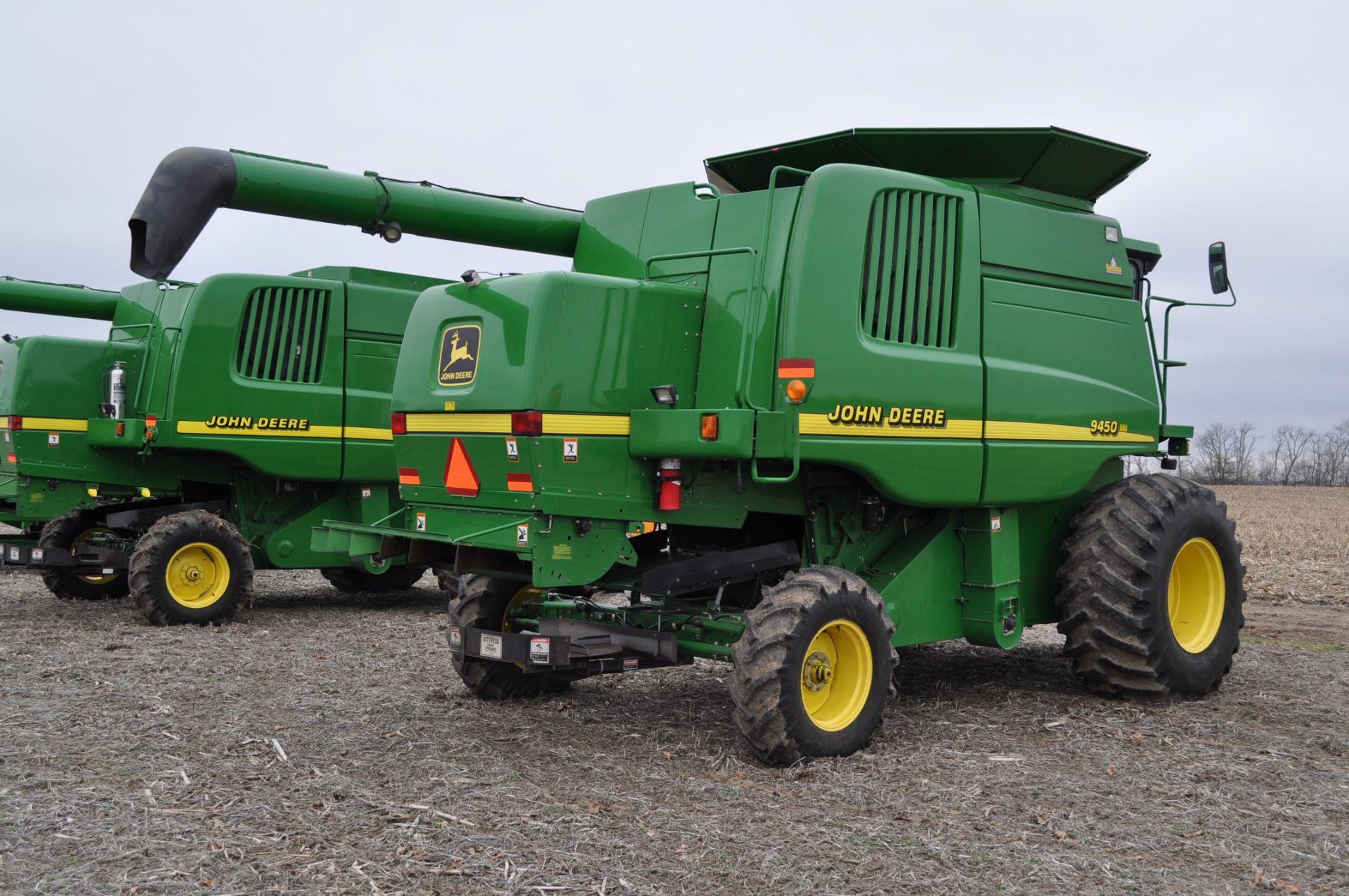 John Deere 9450 combine, 30.5-L32 drive, NEW 14.9-24 rear, chopper, chaff spreader, Mauer bin - Image 3 of 24