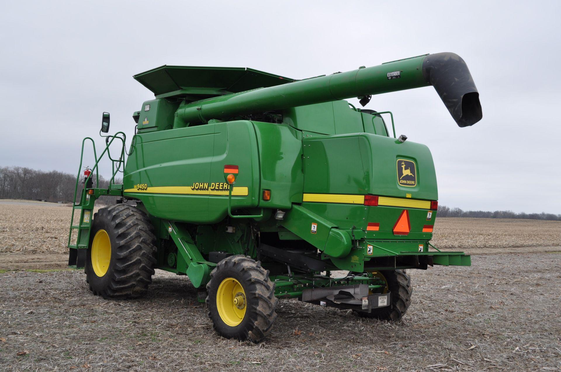 John Deere 9450 combine, 30.5-L32 drive, NEW 14.9-24 rear, chopper, chaff spreader, Mauer bin - Image 2 of 24
