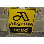 Plastic Asgrow seed sign