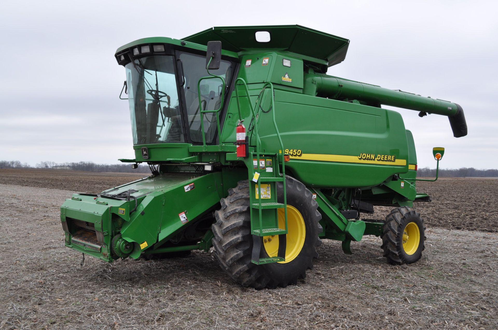 John Deere 9450 combine, 30.5-L32 drive, NEW 14.9-24 rear, chopper, chaff spreader, Mauer bin