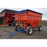 Killbros 385 gravity bed wagon, tarp, steel rails, Killbros 1386 gear, 11 R 22.5 tires