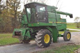 John Deere 6620 combine, Titan II, diesel, 4WD, hydrostatic, newer elevator chain, 30 A on straw