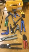 Crimping tools, cutters, strippers from JST, AMP, Ideal, and Thomas & Betts