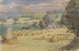 MORTON J. H. COWIE (20TH CENTURY SCOTTISH).Rural landscape with village.Watercolour over pencil.36cm