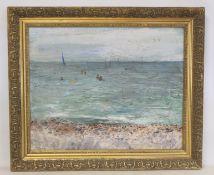 RAE LOVELL, 20TH CENTURY SCHOOL.Bathers at Nice, Promenade des Anglais.Oil on board.39.5cm x 49cm.