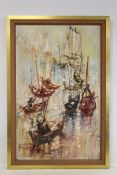 TUSHAR (20TH CENTURY MODERNIST SCHOOL).Chinese river boats.Oil on board.94cm x 59cm.Signed.