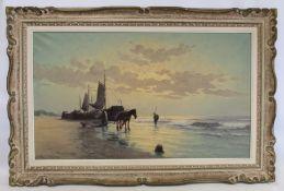 CO. VAN SCHIPPER (DUTCH B.1912).Fishing boat landing his catch.Oil on canvas.57cm x 98cm.Signed.