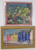 JEAN M. FORD (20TH CENTURY SCOTTISH SCHOOL).Tobermory Harbour front.Coloured chalk pastels on buff