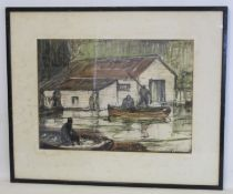 JOHN R BARELEY ?Rowing boats by a Boathouse.Watercolour washes over charcoal.34cm x 47cm.Signed in