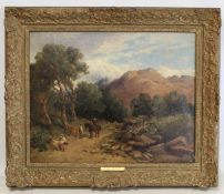 DAVID COX (ENGLISH 1783-1859).Welsh mountain landscape near Aberglaslyn.Oil on canvas.39cm x 49.