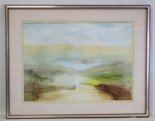 ERIC GILBOY (LATE 20TH CENTURY CUMBRIAN).Derwentwater.Watercolour.40cm x 56cm.Signed, dated (19)84.