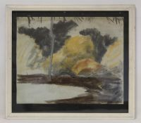 PAULINE OLIVIA FORD.Study of bush land.Coloured chalk pastel.40cm x 49.5cm. Signed.Also a nude