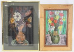 JEAN M. FORD (20TH CENTURY SCOTTISH SCHOOL).Still life of daffodils and tulips.Coloured pastels.53cm