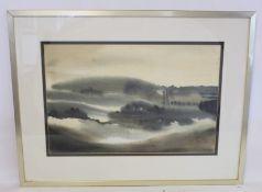 BELL (20TH CENTURY BRITISH SCHOOL).A Dawn landscape.Grey washes.34cm x 51cm.Signed.John Mathieson