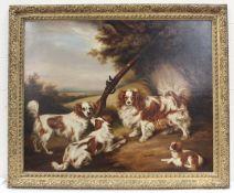 ATTRIB. HENRY BERNARD CHALON (1740-1849).Four King Charles spaniels with a flintlock rifle in a