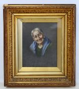 LATE 19TH CENTURY CONTINENTAL SCHOOL.Portrait of an old woman.Oil on canvas.25cm x 20cm.