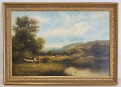 20TH CENTURY ENGLISH SCHOOL.Sonning on Thames, copy of a rural scene after George Vicat Cole?Oil