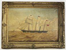 "19TH CENTURY BRITISH SCHOOL.Three masted sailing ship ""Clyde"".Oil on canvas.51cm x 76cm."