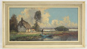 MID 20TH CENTURY SCHOOL.Cottage on fenland.Oil on canvas.39cm x 80cm.Indistinctly signed.