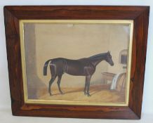 """LATE 19TH/EARLY 20TH CENTURY ENGLISH SCHOOL.""""Pretender"""" - portrait of a racehorse in a stable.Oil on"""