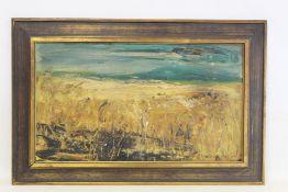 20TH CENTURY MODERN BRITISH SCHOOL.Rural landscape.Oil on board.33cm x 57.5cm.Indistinctly signed
