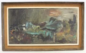 LESLIE (MID 20TH CENTURY BRITISH SCHOOL).Abstract landscape.Oil on canvas.50cm x 95.5cm.Signed.
