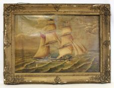"""LATE 19TH/EARLY 20TH CENTURY BRITISH SCHOOL.A two masted sailing ship """"Minerva"""".Oil on canvas.52cm x"""