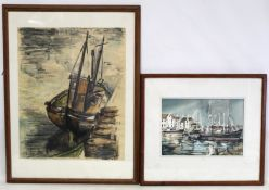DAVID GRAHAM (20TH CENTURY BRITISH SCHOOL).Boats in a harbour.Watercolour.22cm x 31.5cm. Signed.Also