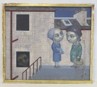 20TH CENTURY BRITISH SCHOOL.Old women chatting in the street.Acrylic on board.64cm x 75cm.