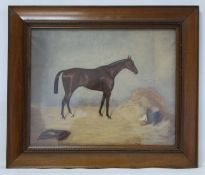 """EARLY 20TH CENTURY ENGLISH SCHOOL.""""Lemonition"""" - portrait of a racehorse in a stable.Oil on canvas."""