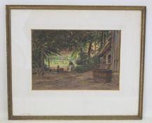 A. LAVEZZARI (VICTORIAN SCHOOL).Laundry day - figures by a cottage.Watercolour.23cm x 33cm.Signed.