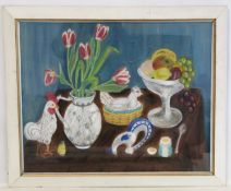JEAN M. FORD (20TH CENTURY SCOTTISH SCHOOL).Still life of fruit, flowers and ornaments.Coloured