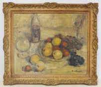 MARGARET MCCURRACH (MID 20TH CENTURY SCOTTISH).Fruit and flowers.Oil on canvas.49.5cm x 59cm.Signed.