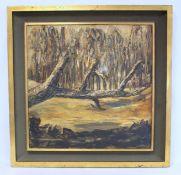 20TH CENTURY BRITISH SCHOOL.A fallen tree.Textured oil on canvas.60cm x 60cm.