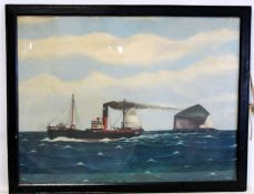"""A HALL (2OTH CENTURY NAIVE SCHOOL).""""New Comet"""" - a puffer rounding the Bass Rock.Oil on canvas"""