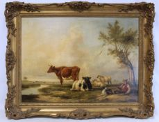 HENRY BRITTAN WILLIS (1810-1884).Pastoral landscape with cattle, sheep and shepherd.Oil on
