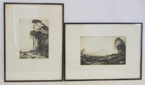 Highland landscapes - two monochrome etchings by John George Mathieson (exh. 1918 to 1940), 29cm x