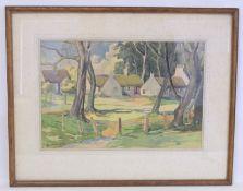 PHILIP WILSON (20TH CENTURY SCOTTISH).Swanston village.Watercolour.33cm x 51cm.Signed, inscribed