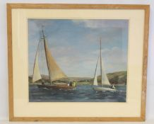 20TH CENTURY SCOTTISH SCHOOL.Yachts on the Firth.Oil on board.42cm x 50cm.Inscribed with title