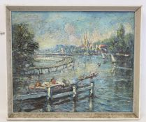 K. ELFORD (20TH CENTURY BRITISH).The weir at Marlow.Textured oil on board.50cm x 60cm.Signed,
