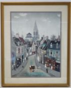 French street scene, a chromolithograph after an original by Michel Delacroix, 61cm x 46cm.
