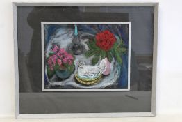 JEAN M. FORD (20TH CENTURY SCOTTISH SCHOOL).Still life with flowers, hen on a basket and