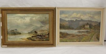 20th century British School.Castle by a Loch.Oil on canvas, 34cm x 44cm.and another Lake scene. 28cm