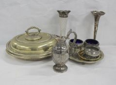 Pair of epns oval entree dishes, claret jug with epns mounts, silver trumpet vase a/f, another