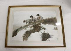 Barker of Lanercost.Bewcastle Foxhounds.Gouache, 37cm x 54cm.