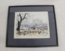 Ray R. Nicol.Two For Joy, farmyard scene.Signed and inscribed with title, watercolour 23cm x 29cm.